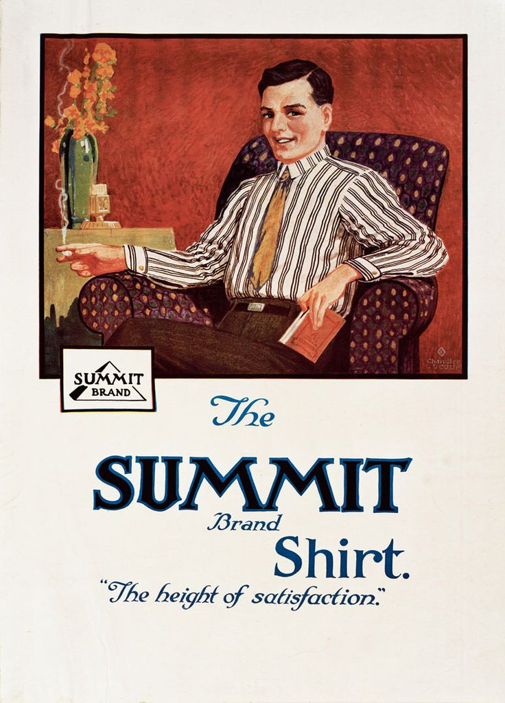 Advertising poster for 'The Summit Brand Shirt' - The Height of Satisfaction. Artwork by David Payne. Printed by Chandler and Co.,NZ