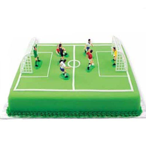 Kit déco gateau Joueurs de foot en plastique et cages