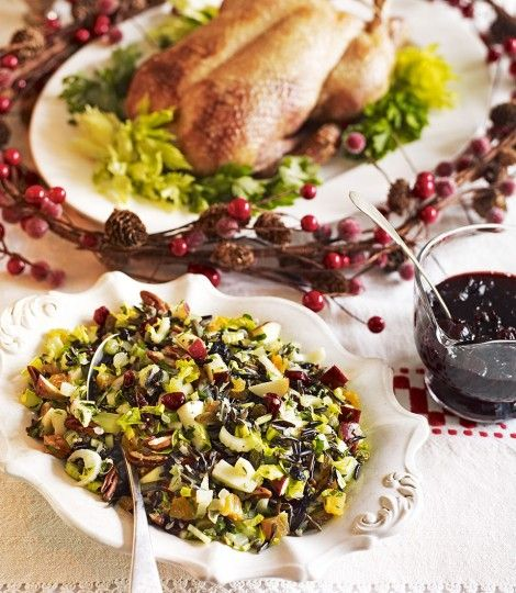 Debbie Major's recipe for roast duck is served with a pile of wild rice, toasted nuts, dried fruit and some crunchy apples and celery.
