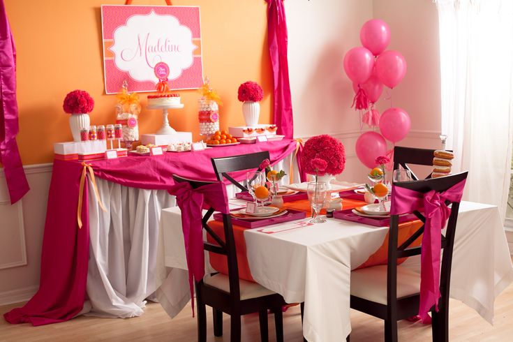 One of my all time favorites.  Elaborate pink & orange baby shower decor