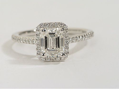 Cool Emerald Cut Halo Diamond Engagement Ring in K White Gold