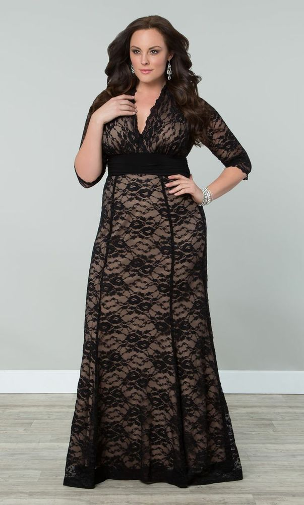 cd0c9a80d0 Here is the stunning black lace and nude lining Screen Siren maxi dress from  Kiyonna! The maxi dress is used clean condition. | eBay!