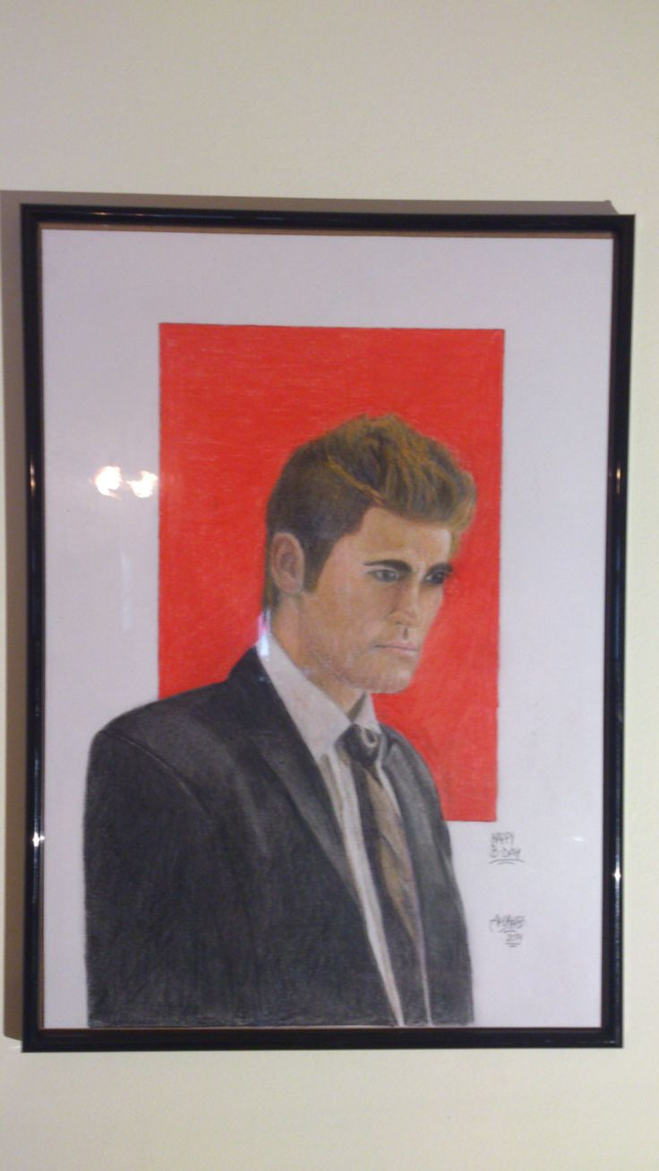 -PAUL WESLEY PORTRAIT (STEFAN VAMPIRE DIAIRES) -Colored pencils on cardboard -Measures: 30x42 cm  SOLD Can be made similar after request