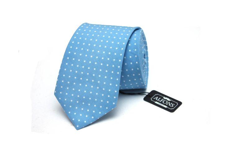 Světle modrá kravata s bílými puntíky Alfons.cz