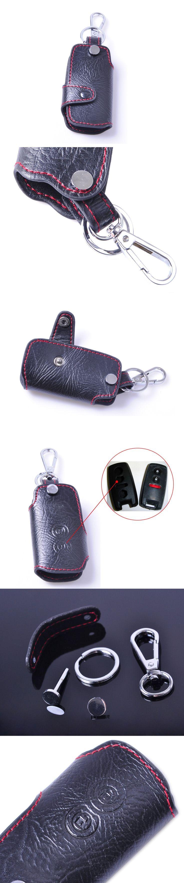 DWCX New Genuine Leather Remote Key Chain Holder Case Cover Fob for SUZUKI Grand Vitara SX4 2008 2009 2010 2011 2012