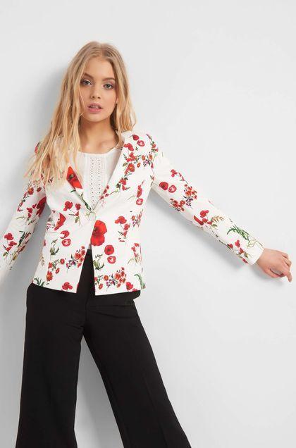 b2a32151ab Mintás, karcsúsított blézer - Bézs   Orsay   Sleeves, Blazer és Jackets