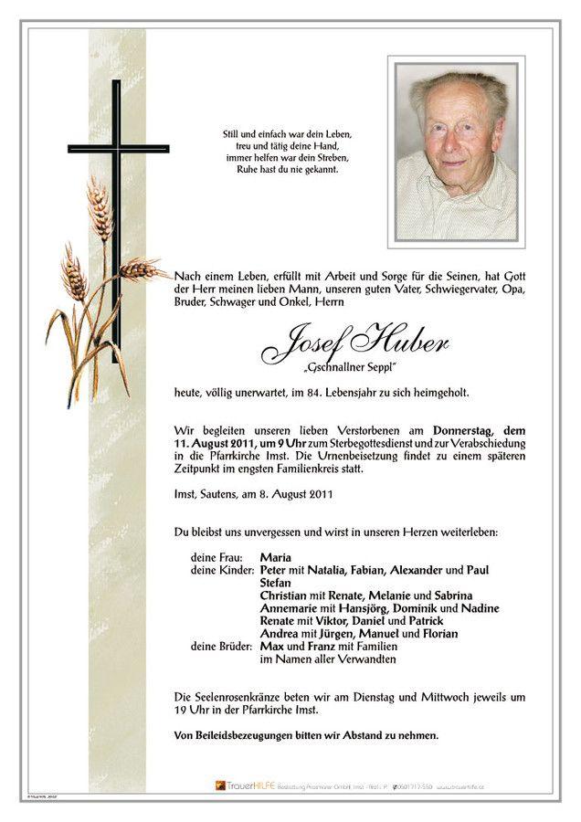 Verstorbene(r) Josef Huber Trauerhilfe Bestattungs GesmbH