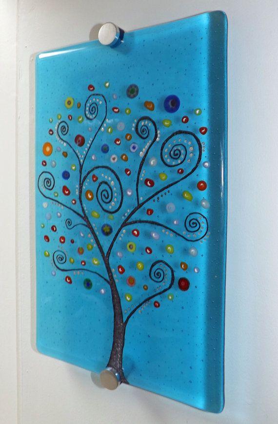 Fused glass art panel Tree of Life by CornerwaysFusedGlass on Etsy