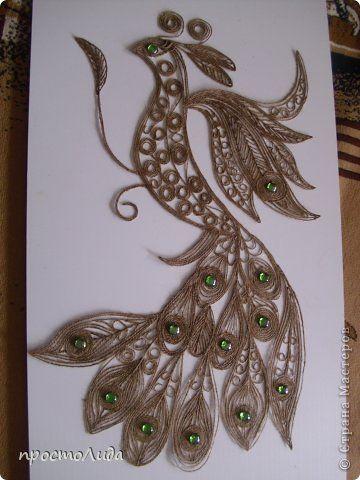 Картина панно рисунок Аппликация Сказочная птица Шпагат