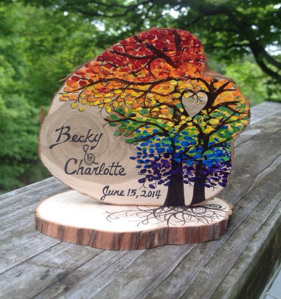 Arc en ciel Wedding cake topper Woodland par JenniferLenoxVT