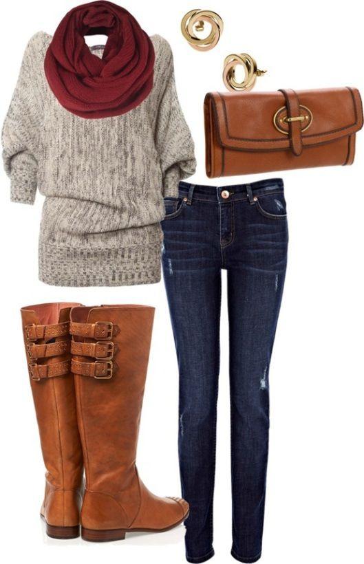 Calças de ganga + camisola de malha creme + cachecol vermelho + botas camel