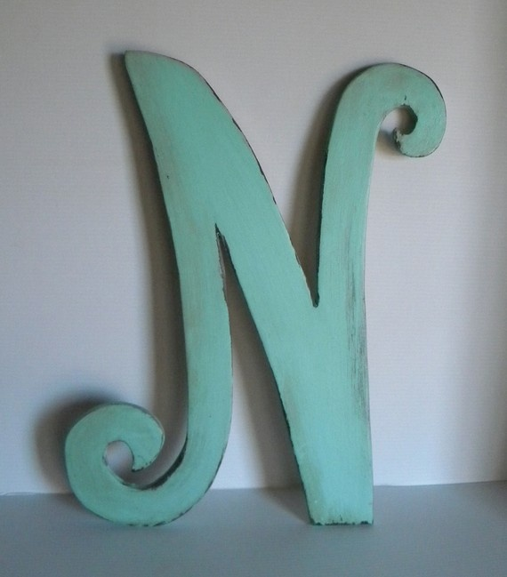 custom wooden letter n painted distressed by serinascustomshop 3300 for natalies room baby lettering wooden letters letter n