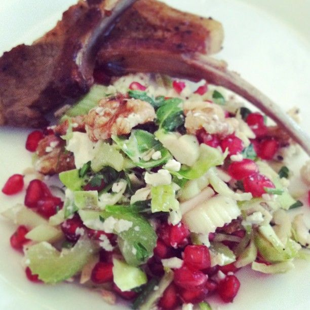 Pomegranate, brussel sprouts and walnut salad with lamb chops