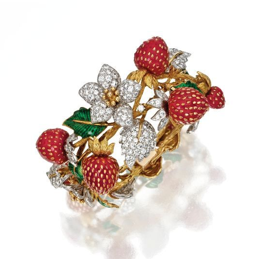 18 Karat Gold, Platinum, Diamond, Coral and Enamel Strawberry Bracelet, Donald Claflin for Tiffany & Co., Circa 1970