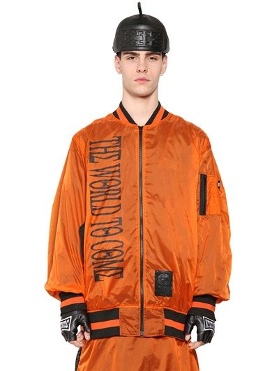 KTZ - PRINTED NYLON SATIN & MESH BOMBER JACKET - LUISAVIAROMA - LUXURY SHOPPING WORLDWIDE SHIPPING - FLORENCE