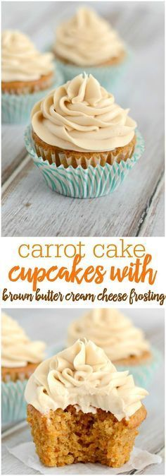 Carrot Cake Cupcakes with Brown Sugar Cream Cheese Frosting - these moist cupcakes have just the right amount of spice, and the frosting is heavenly.