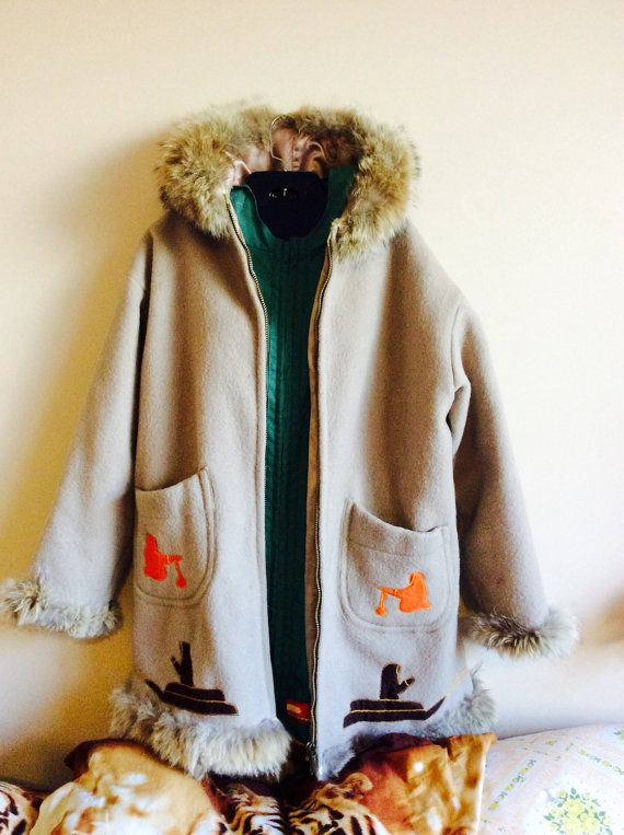 Vintage 60's Arctic Native Canadian Inuvik Sewing Centre Handcrafted Wool Fur Hooded Winter Jacket Coat Rare, OMG i just love it!!!!