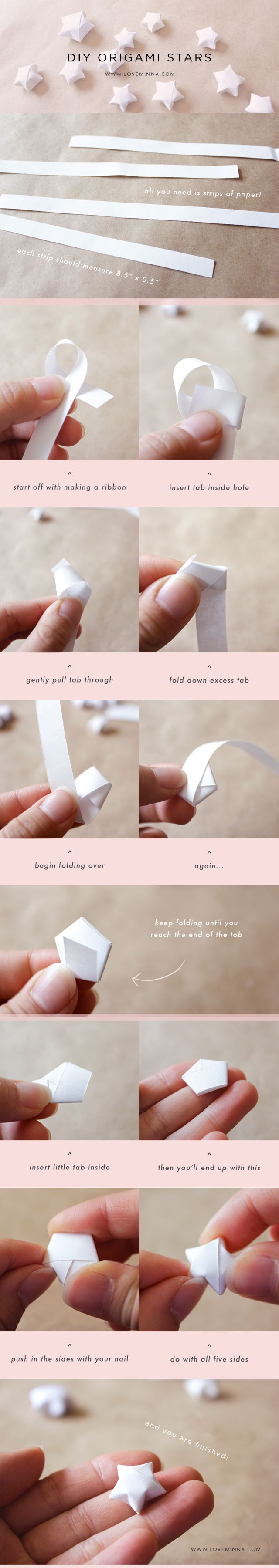 Here is my tutorial on how to make cute little origami stars! I tried my  best to make the steps as simple as possible! It takes some practice to  make the stars look perfect, so don't be discouraged if you don't get it  the first time! You can change the size of the stars by having thinner or  thicker paper strips. Good luck and enjoy!  — Love, Minna