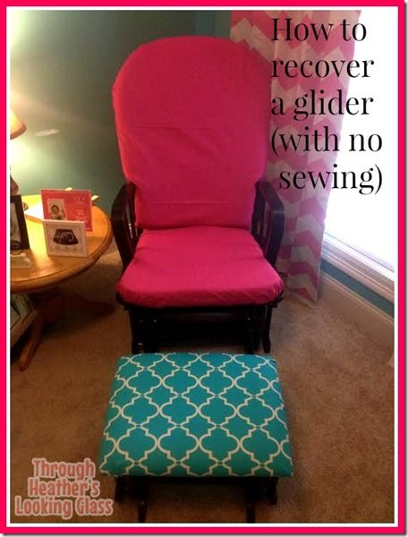 How to Recover a Nursery Glider (the easy way) with no sewing. I am not very good at crafts but wanted to change the fabric on my baby's rocker chair. I show you step by step how I did the cushions and ottomans in my post, no sew! For cheap!