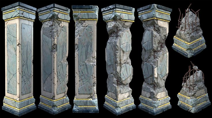Damaged Marble Pillars -including resources(zBrushes+zTools+ingame models&textures)