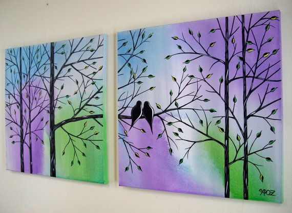 Large Love Birds in Tree Acrylic Painting Contemporary Canvas Art Over the Couch Bed Diptych Modern Romance Silhouette 20x40 JMichael