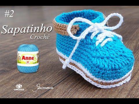 Sapatinho de Crochê para Bebê   Parte 2   Professora Simone - YouTube