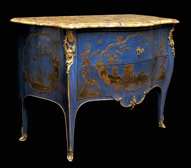 """Jacques Dubois (1694 – 1763) Commode, Louis XV Period, c.1745-1749. Oak frame, """"vernis Martin"""" in Japanese style on blue background, gilt bronze, Alep breccia marble"""