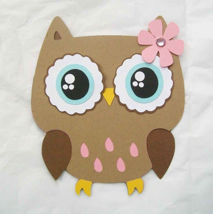 Owl die cut pink and brown by NancysBannerBoutique on Etsy, $3.00