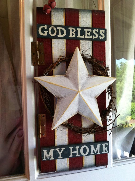 "Wooden Patriotic Wreath, Patriotic Sign, ""God bless my home""  Wreath   on Etsy, $40.00"