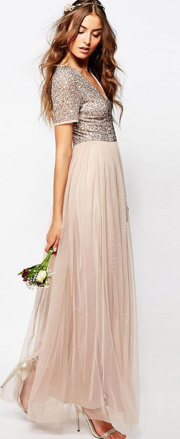 $150.19-Chic Ankle-Length V-Neck Long Sequined Bridesmaid Dress With Short Sleeves. http://www.ucenterdress.com/ankle-length-v-neck-sequined-short-sleeve-tulle-bridesmaid-dress-with-pleats-pMK_100552.html.  Shop for long dresses, designer dresses, casual dresses, occasion dresses, backless dresses, elegant dresses, black tie dresses. We have great 2016 bridesmaid dress for sale. Available in Gold, Yellow, Pink, Lavender Burgundy, Peach…#UCenterDress.com #bridesmaiddress