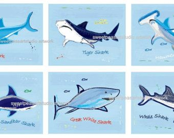 Tiburón Decor arte de tiburón, lecho de impresiones para mordedura de tiburón, tiburón baño decoración de la pared, láminas de tiburón, tiburón ducha decoración, 12 números de la selección de opciones