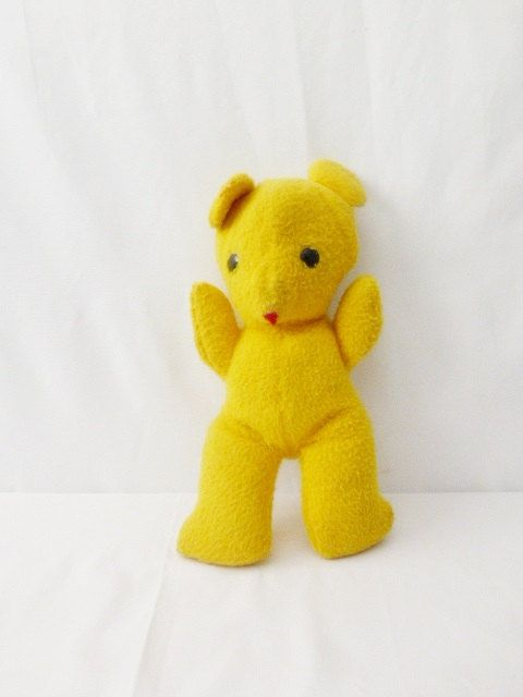 Bright Yellow Stuffed Bear Playskool 70s Vintage Toddler Plush Toy Children's Room Wall Decor