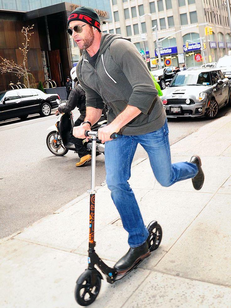 Scoot on Wolverine..  #HughJackman #Microkickboard #MicroBlack