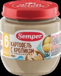 """Сэмпер пюре кролик с картофелем с 6 мес 125г  — 123р. ---------- О продукте:  Мясо кролика — это уникальный гипоаллергенный диетический продукт, который усваивается на 96%. Оно незаменимо для детей с анемией или пищевой аллергией. Пюре """"Картофель с кроликом"""" поможет организму Вашего малыша поддерживать нормальный жировой обмен и оптимальный баланс питательных веществ. Мясо кролика не может содержать холестерин, пестициды, гербициды, следы лекарственных и любых других химических препаратов…"""