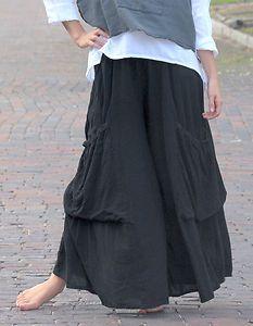 Oh My Gauze Cotton Lagenlook Ellen Palazzo Pocket Pant OS M L XL 1x 2X Black | eBay
