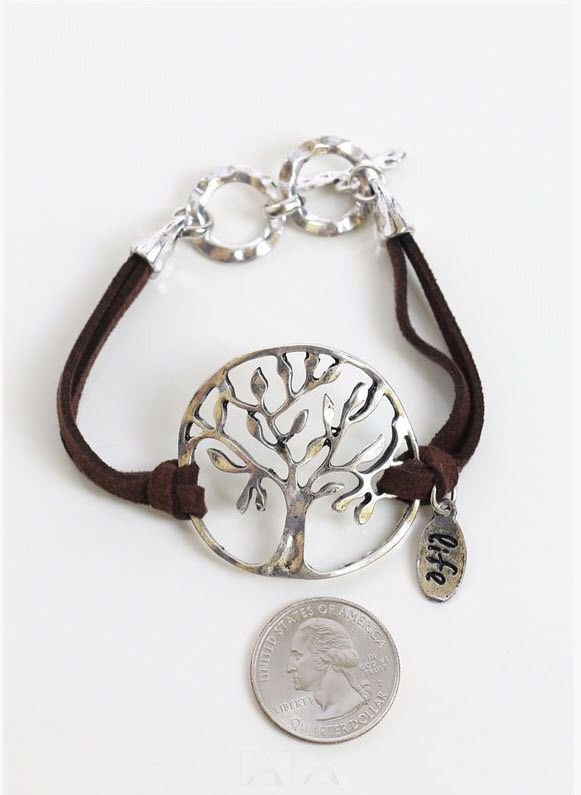 "Brown suede and silver Tree of Life bracelet with toggle closure. Approx 6"" long Lead compliant"