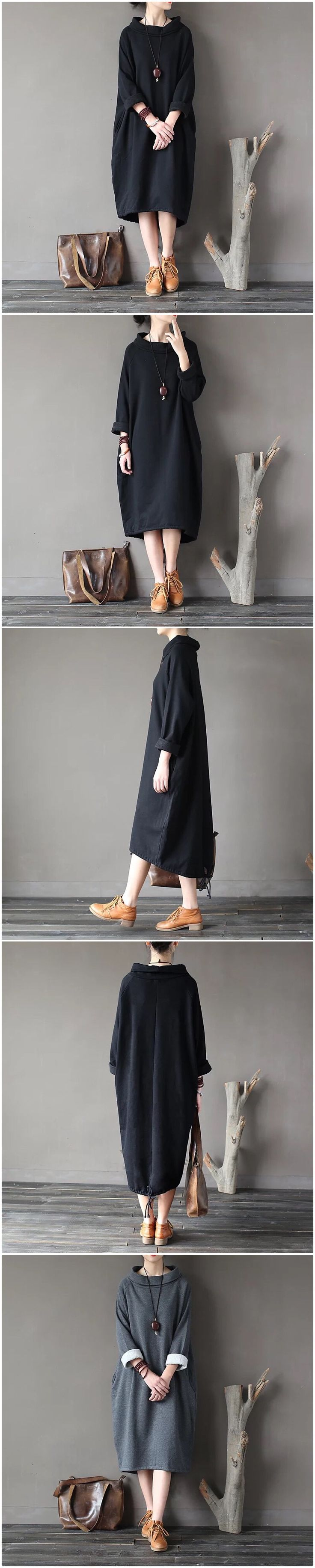 Black loose winters warm fleece dresses