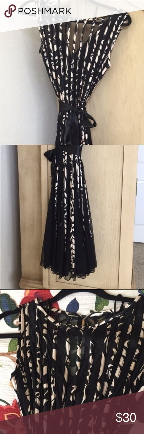 Xscape Petite Dress Size 8 Very Pretty dress. Sheer overlay and black body slip dress underneath. Perfect for a special occasion! Dresses