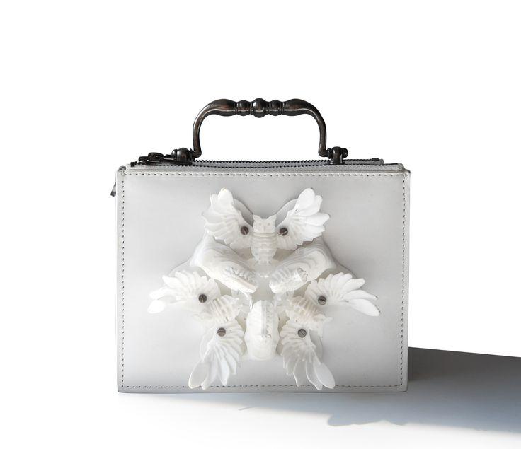 White plain leather, Elephants and Owl Flower, 3D printing, Exocet Paris FW1415