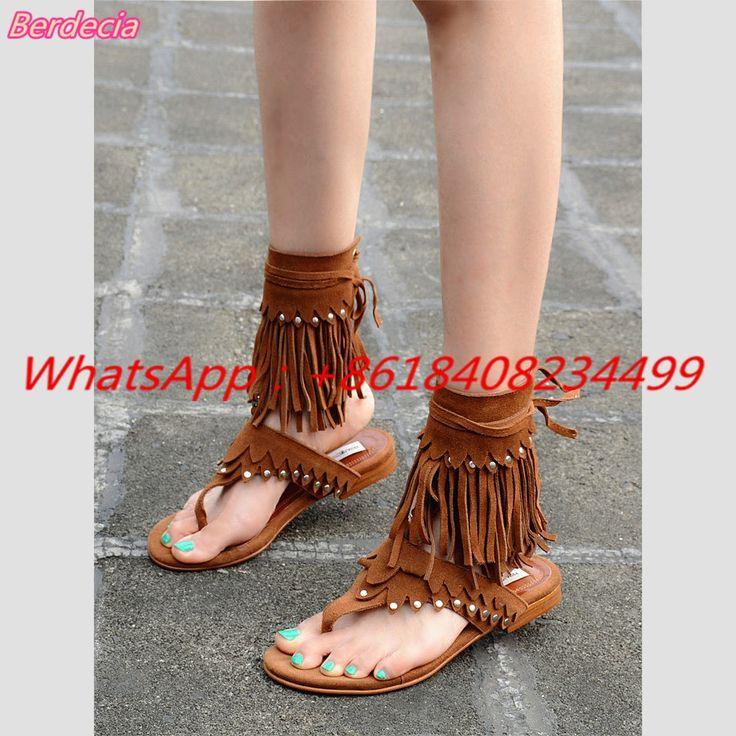 105.01$  Buy here  - Retro Ankle Strap Women Sandals Flip Flop Rivet Shoes Women Fringe Lace-up Shallow Women Gladiator Sandals Low Heels Sandals