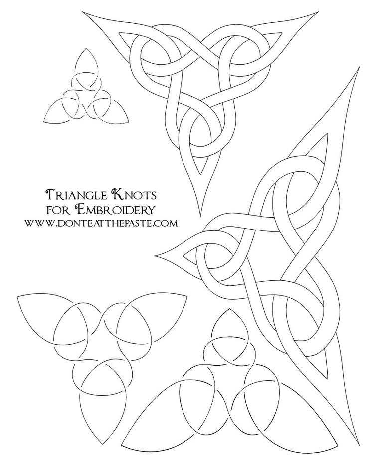 Don't Eat the Paste: Triangle knot embroidery patterns and a coloring page
