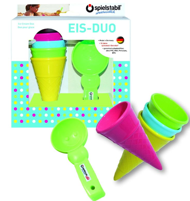 Spielstabil Ice Cream Duo Play set for Use in the Sand or with Real Food (Made in Germany). Yummy ice cream cone set includes 4 ice cream cones and one scoop with a smiley indent. Suitable for use in the sand or with real food!. Spielstabil Products are manufactured in Germany and are PVC free, Phthlate free and BPA Free. This item is dishwasher safe, microwave safe and made with food-grade plastics. The indestructable, colorfast sand & water toys from Spielstabil set come with a 10 Year...
