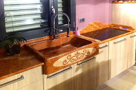 Lavello in marmo rosso aragosta con ornamento - Marble kitchen sink