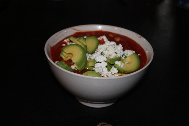 Baked eggs with chille, fetta, avocado and chickpeas - delicious! Look at this colour and know the food is good for you :)