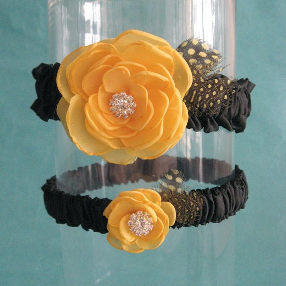 Bridal Garter Yellow And Black Garter Set J154 By