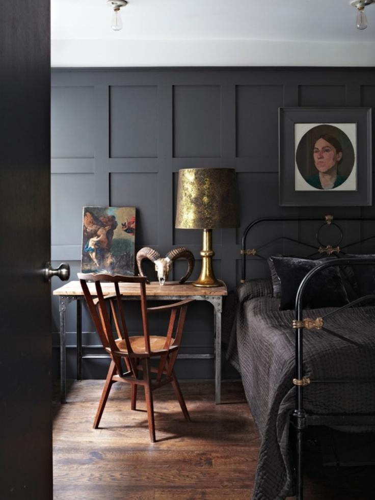 Rich, Dark Paneled Walls, Antique Brass Bed, and Dark Linens. So Handsome.