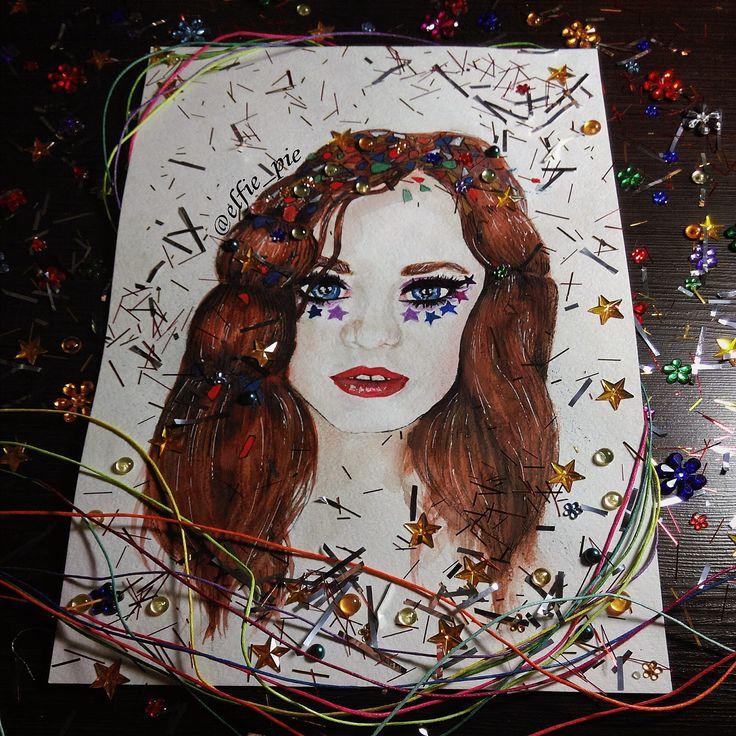art illustration of a beautiful ginger girl
