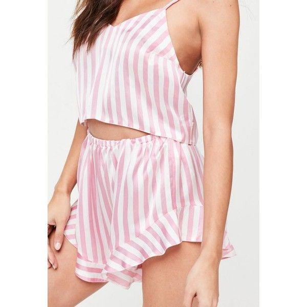Pink Striped Satin Cami Pyjama Set ($24) ❤ liked on Polyvore featuring intimates, sleepwear, pajamas, satin camisole, striped pyjamas, satin pajama set, pink camisole and pink striped pyjamas