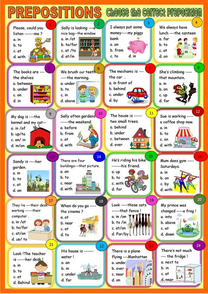 All Types Of Prepositions Multiple Choice Grammar