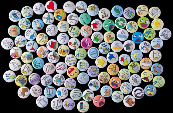 Magnetic buttons for chore chart.  Love the designs and how durable they look. http://www.etsy.com/listing/162193963/choose-your-own-magnets